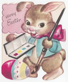 Vintage Greeting Card Easter Bunny Rabbit Paint Egg Die-Cut Whitman 1950s a115  | eBay