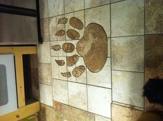 Bear paw tile inlay in kitchen !