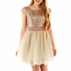 Gold Sequin Party Dress - short with belt