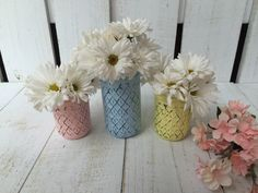 Quilted Painted Mason Jar,Distressed Mason Jar,Flower Vase,Baby Shower Décor,Bridal Shower,Table Centerpeice,Hostess Gift,Nursery Decor by LacyBellesBoutique on Etsy https://www.etsy.com/listing/245984221/quilted-painted-mason-jardistressed