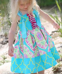 Look at this a little posh Light Blue Palm Springs Elizabeth Dress - Infant, Toddler  *** Geen patroon, slegs mooi idee ***