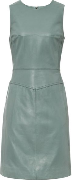 Reiss Syon Leather Dress in Green (silver sage) | Lyst