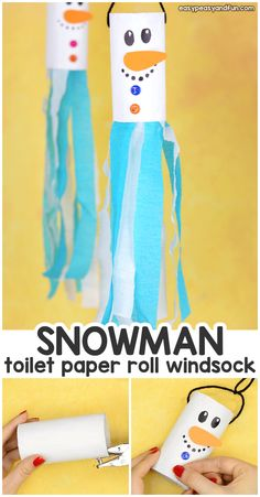 Snowman windsock toilet paper roll craft - simple, light and fun . - Snowman windsock toilet paper roll craft – simple, light and fun – snowman windsock toilet pape - Snowman Crafts, Halloween Crafts, Holiday Crafts, Fun Crafts, Arts And Crafts, Creative Crafts, Daycare Crafts, Classroom Crafts, Winter Crafts For Kids