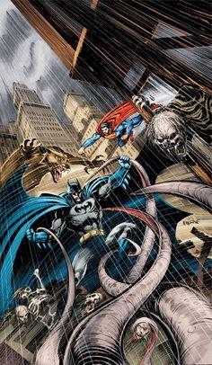 Superman and Batman vs Vampire and Werewolves by Tom Mandrake