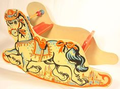Vintage 1950's Sleigh Seat Wooden Rocking Horse Colorful Fairy Tale Graphics
