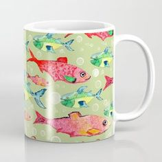watercolor fish jam pattern Coffee Mug Deer Pattern, Clouds Pattern, Circle Pattern, Watercolor Fish, Watercolor Pattern, Christmas Star, Retro Christmas, Stuffed Animal Patterns, Star Patterns