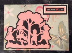 """Entered in simonsaysstampblog.com Wednesday """"Rain or Shine"""" Challenge.  Silhouette cut on Cricut """"Nursery Rhymes"""" cartridge.  Text stamped and matted.  Scrapbook paper used for background of card."""