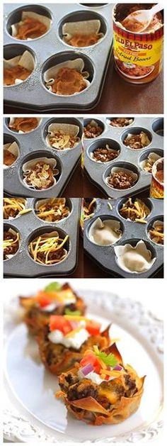*Taco Cupcakes*  ||  1 lb grd beef, 1 pkg taco season mix, 36 wonton wrappers, 1-16 oz can refried beans, 36 tortilla chips, 2 c cheddar, sour cream, diced tomato, cilantro, onion  ||  1. Preheat to 375 F. Spray 18 muffin cups w cooking spray.  2. Brown beef and drain fat. season and simmer for 4-5 min.  3. Place wonton wrap in each cup. Layer 1 Tb beans on each. Crush one chip on top. Top with 1 Tb meat and 1 Tb cheese. Repeat layers again.  4. Bake 15-18 min  5. Remove and add toppings