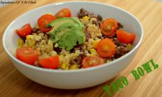 Taco bowl, sub beef with lean ground turkey, sub corn for yellow pepper, remove oil and SUPER healthy taco bowl!!