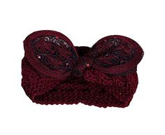Wine RED Beautiful Bowknot Hair Band Soft Wool Knitted Headband * Details can be found by clicking on the image.