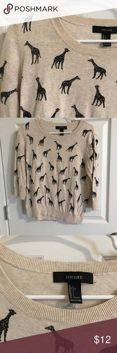 Ridiculously cute giraffe sweater forever 21 SZ L Super super cute sweater from Forever 21 SZ L worn once! No trades Forever 21 Sweaters Crew & Scoop Necks
