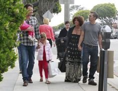 Halle Berry and Olivier Martinez ran into Ben Affleck and his daughters during a day out in Santa Monica in May 2012.