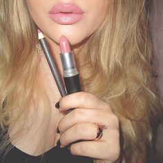 """In honor of #NationalLipstickDay I will be posting some of my favorite lipstick swatches Here is the first: #MAC """"Soar"""" Lipliner & #MAC """"Faux"""" Lipstick"""