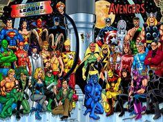 Avengers/Justice League:a classic DC/Marvel crossover by George Perez. Batman E Superman, Batman Comic Books, Batman Comics, Comic Books Art, Comic Art, Gay Comics, Spiderman, Vespa, Dragon Ball Z