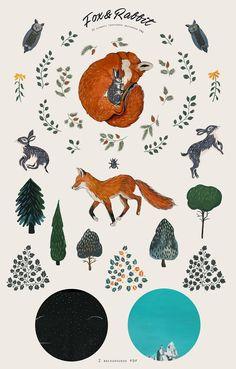 Fox&Rabbit collection by Asaltodemata on @creativemarket