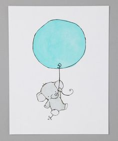 Take a look at this Aqua Elephant Balloon Print by trafalgar's square on #zulily today!----I AM IN LOVE WITH THESE ELEPHANT PRINTS