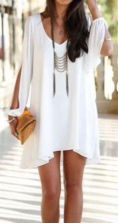 Long Sleeve V Neck White Dress