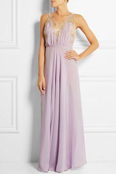 Rosamosario|Camelot Mon Amour lace-trimmed silk-georgette chemise|NET-A-PORTER.COM