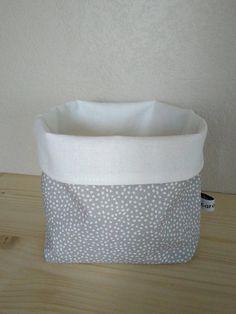 Panier tissu vide poche gris et blanc, corbeille tissu coton gris à pois pastilles