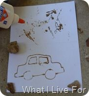 sand + glue = art!!--project ON the beach!