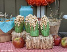 Elotes hechos con cereal para una fiesta de la granja :: Corn made from cereal for a farm party