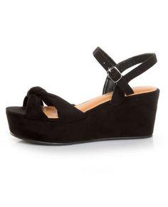The Diva Lounge Manning 01 Black Venus Suede Flat Platform Sandals work the flatform trend to perfection in super soft black vegan suede.