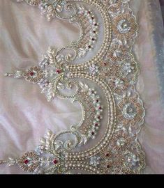 Image may contain: 1 person Zardosi Embroidery, Embroidery On Kurtis, Kurti Embroidery Design, Hand Embroidery Dress, Wedding Embroidery, Tambour Embroidery, Embroidery Suits, Embroidery Fashion, Ribbon Embroidery