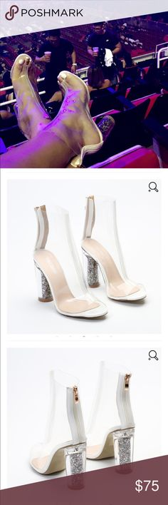 """Clear Perspex Glitter Heel Ankle Boot Make like the Queen Bey - Beyoncé in our Star boots! Spotlight's on you with the perspex heel glimmering. These booties have serious attitude with a completely see through upper and the peeptoe keeps your toes free to wiggle. Worn once. ❤️SOLD OUT❤️  Heel Height: 4.2"""" / 11cm Shoe Height: 8.5"""" / 22cm Fabric Composition: Synthetic, Manmade PU 🚫pp, holds, trades, sales on other apps or questions without intent to purchase. Public Desire Shoes Heeled Boots"""