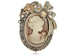 Buy Alilang Vintage Inspired Crystal Rhinestone Victorian Lady Cameo Brooch Pin Maiden Flower Ribbon Bow Pendant - Topvintagestyle.com ✓ FREE DELIVERY possible on eligible purchases