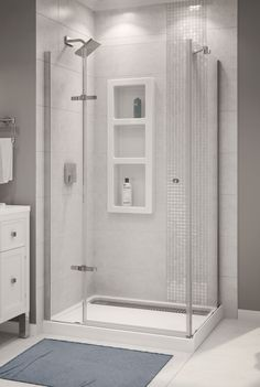 shop style selections white carrara solid surface wall and floor 4 piece alcove shower kit. Black Bedroom Furniture Sets. Home Design Ideas