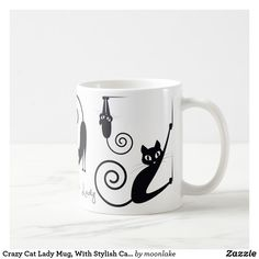 Shop Crazy Cat Lady Mug, With Stylish Cats Coffee Mug created by moonlake. Cat Coffee Mug, Cat Mug, Crazy Cat Lady, Crazy Cats, Photo Mugs, Cat Lovers, Ceramics, Make It Yourself, Stylish