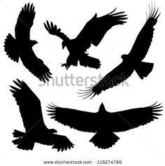 Eagles Silhouette Applique | Eagle Silhouette on white background - stock vector