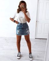 trendy outfits for summer & trendy outfits ; trendy outfits for school ; trendy outfits for summer ; trendy outfits for women ; Cute Summer Outfits, Cute Casual Outfits, Fall Outfits, Tumblr Summer Outfits, Spring Summer, Edgy Outfits, Ootd School Summer, Cute Converse Outfits, Ootd Summer Casual