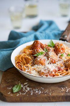 Delicious chicken meatballs with spaghetti & Marcella Hazan's famous tomato sauce
