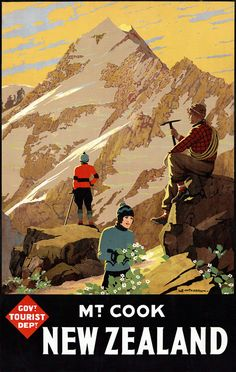 Mt. Cook New Zealand. Vintage New Zealand travel poster from the Government Tourist Department. Illustrated by L.E. Mitchell.