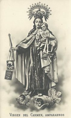 "allaboutmary: "" Virgen del Carmen A Spanish holy card of Our Lady of Mount Carmel. """