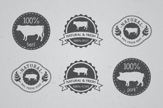 100% meat labels by Trivia on Creative Market