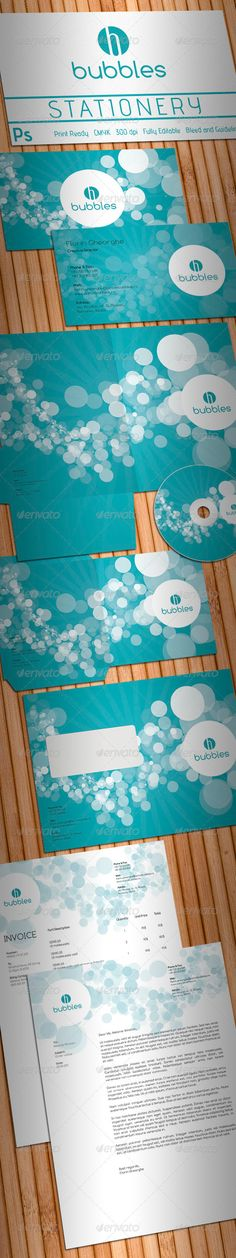 Active Bubbles Stationery  #GraphicRiver         Simple, clean and modern Cleaning Company or Cleaning Products stationery package.