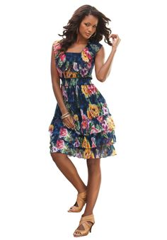 Fit and Flare Empire Waist Sundress by Denim 24/7   Plus Size Dresses   OneStopPlus