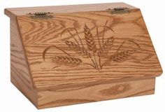Amish Wood Bread Box with Carving