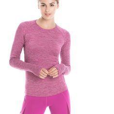 This sleek top is ideal for fall running or as a base layer under a windbreaker or vest. It's made to move in our moisture-wicking, heathered stretch fabric with a SPF factor. Crew neck Long sleeves with thumbho Second Skin, Stretch Fabric, Style Guides, Your Style, Windbreaker, Pullover, Purple, Long Sleeve, Sleeves