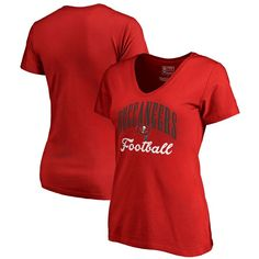 Tampa Bay Buccaneers NFL Pro Line by Fanatics Branded Women's Victory Script Plus Size V-Neck T-Shirt - Red