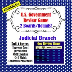 U.S. Government Review Game: Judicial Branch (editable)- Fun and effective way to review the concepts of the Judicial Branch with your students. It's editable, so you can make adjustments for your classroom curriculum. Middle School Teachers, High School Students, Political Participation, Judicial Branch, Executive Branch, College Board, Review Games, Constitution, Social Studies