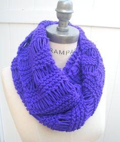 Knit Neckwarmer Scarf  Purple  Infinify Scarf  Hand Knit Scarves Fall Fashion Neckwarmer - by PiYOYO on Etsy, $28.99