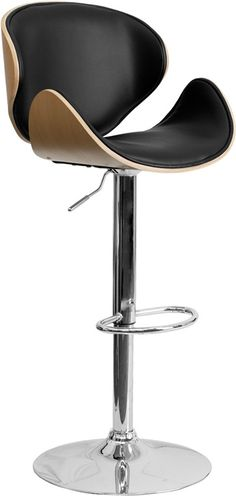 Beech Bentwood Adjustable Height Bar Stool with Curved Black Vinyl Seat and Back