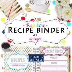 Recipe Binder - Instant Download - Organization Printables Home Management Binder - 32 Documents #recipebinder #printables #mealplanning #kitchenorganization #organizingprintables #recipeorganization