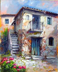 Francesco Mangialardi - Pinter from Calabria Italy Watercolor Landscape, Landscape Art, Landscape Paintings, Watercolor Paintings, Scenery Paintings, Italy Art, Cottage Art, Art Sketchbook, Artist Art