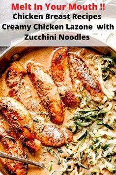 Summer Dinner Recipes Chicken Breast Recipes Creamy Chicken Lazone Recipe with Zucchini Noodles Best Healthy Dinner Recipes, Keto Recipes, Chicken Lazone, Breast Recipe, Zucchini Noodles, Creamy Chicken, Chicken Recipes, Dinners, Stuffed Peppers
