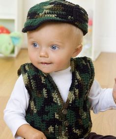 Vest and Hat Baby's Gone a Hunting Free Crochet Pattern from Red Heart Yarns