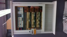 $150 @ Rona 25w x 8d x 31h - open shelf has bead board back. 3 shelves inside